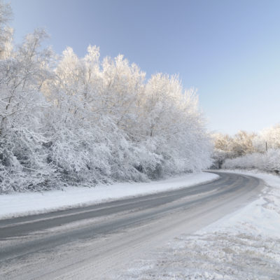 A frozen road in the countryside